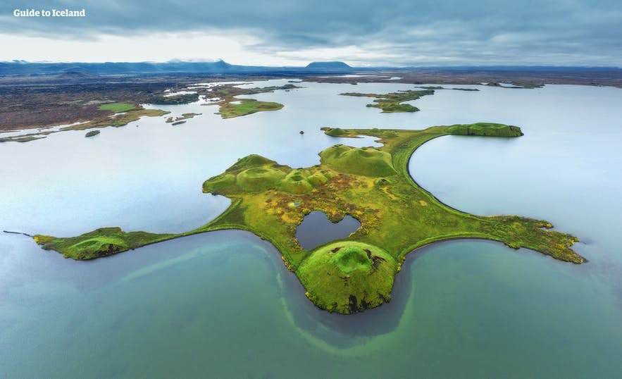 An aerial perspective over the Skutustadagigar Pseudocraters.