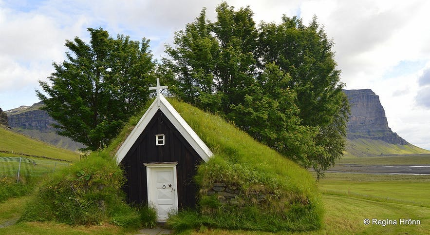 Núpsstaðarkirkja is the smallest turf church in Iceland.