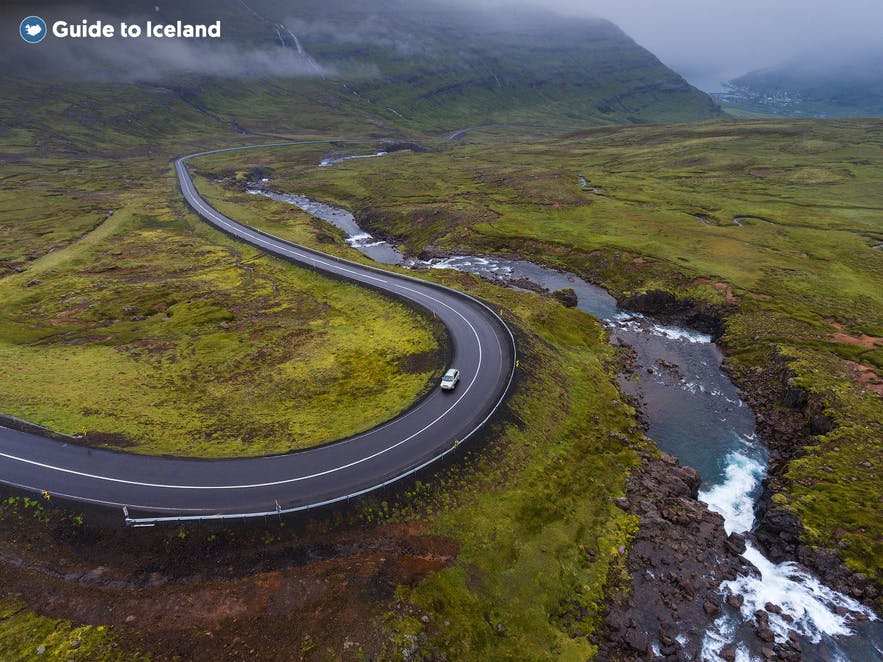 A road winds to Seydisfjordur.