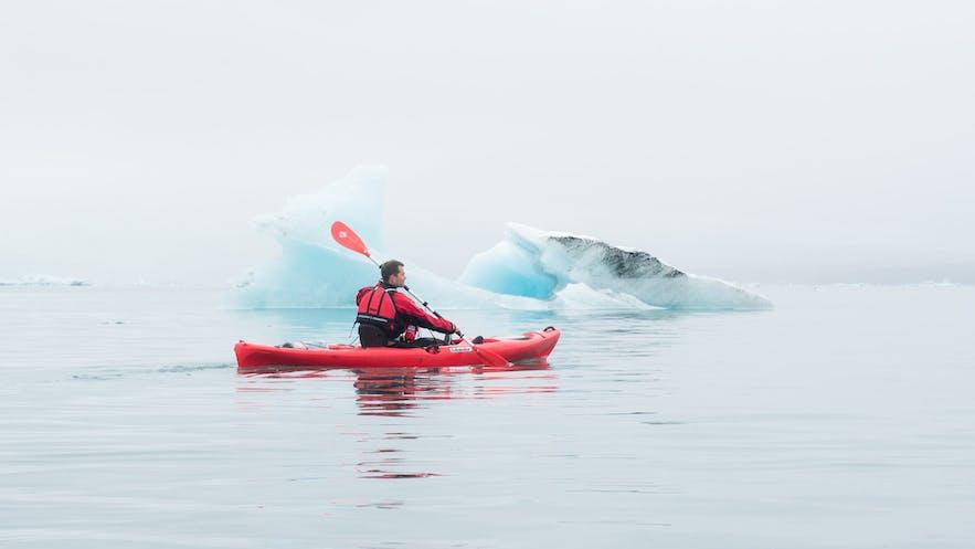 A kayaker in Jokulsarlon.