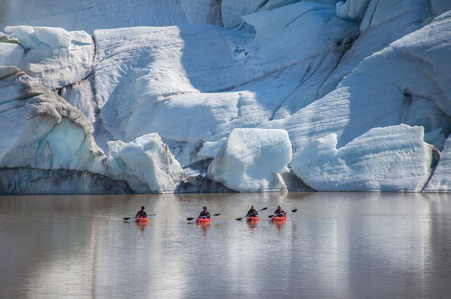 Kayakers get great views of Iceland's glaciers.