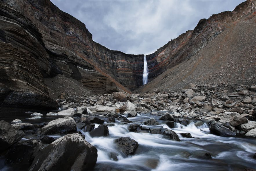 Hengifoss in East Iceland is one of the tallest waterfalls in the country.
