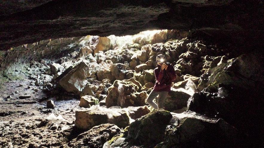 Leidarendi Cave is a vivid cave near Reykjavik.