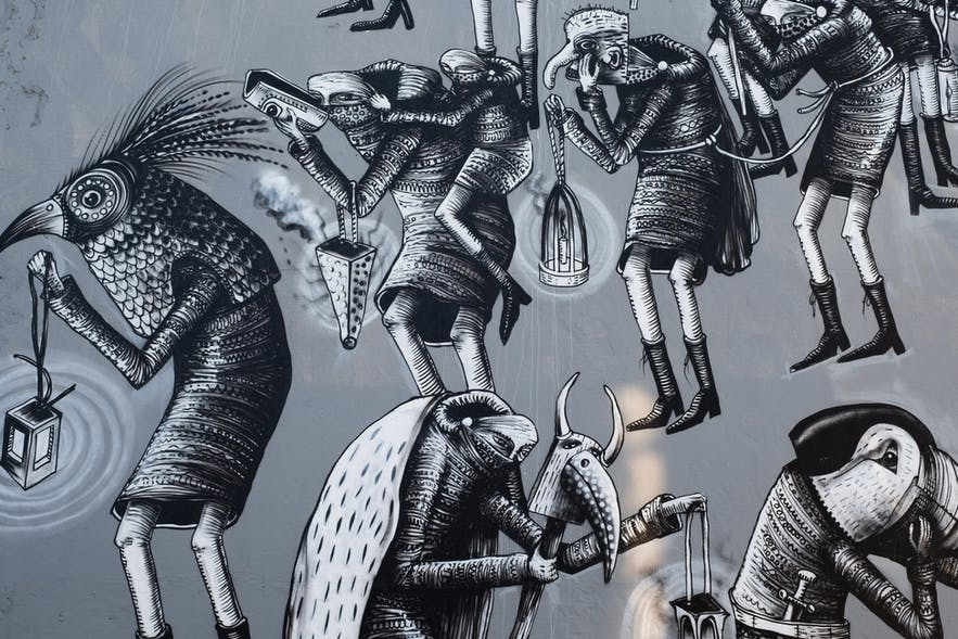 Some of the street art of Iceland up close.