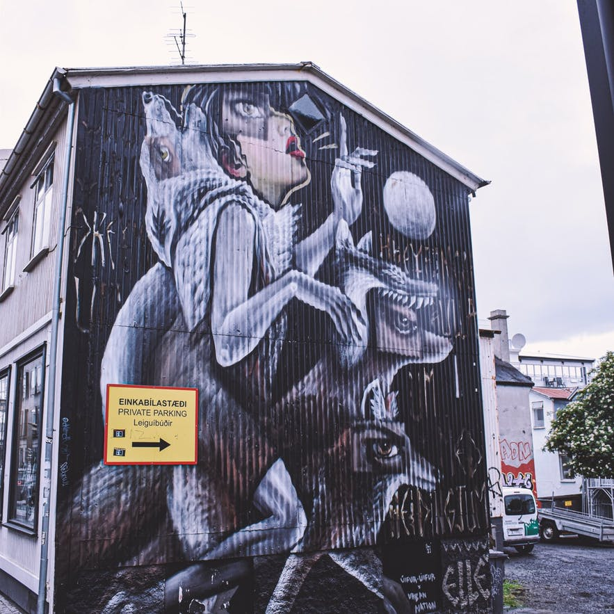 Some of the street art in Iceland is ominous.