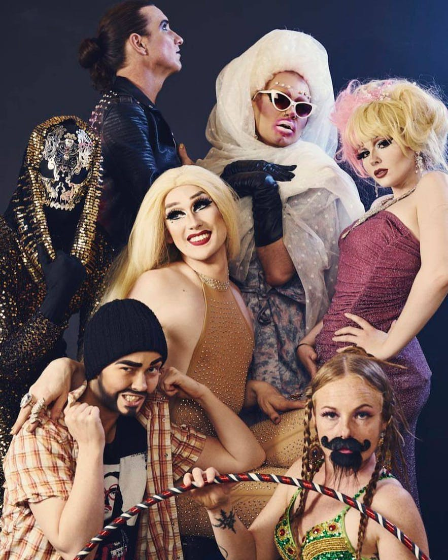 Some of Iceland's eclectic drag troupe.
