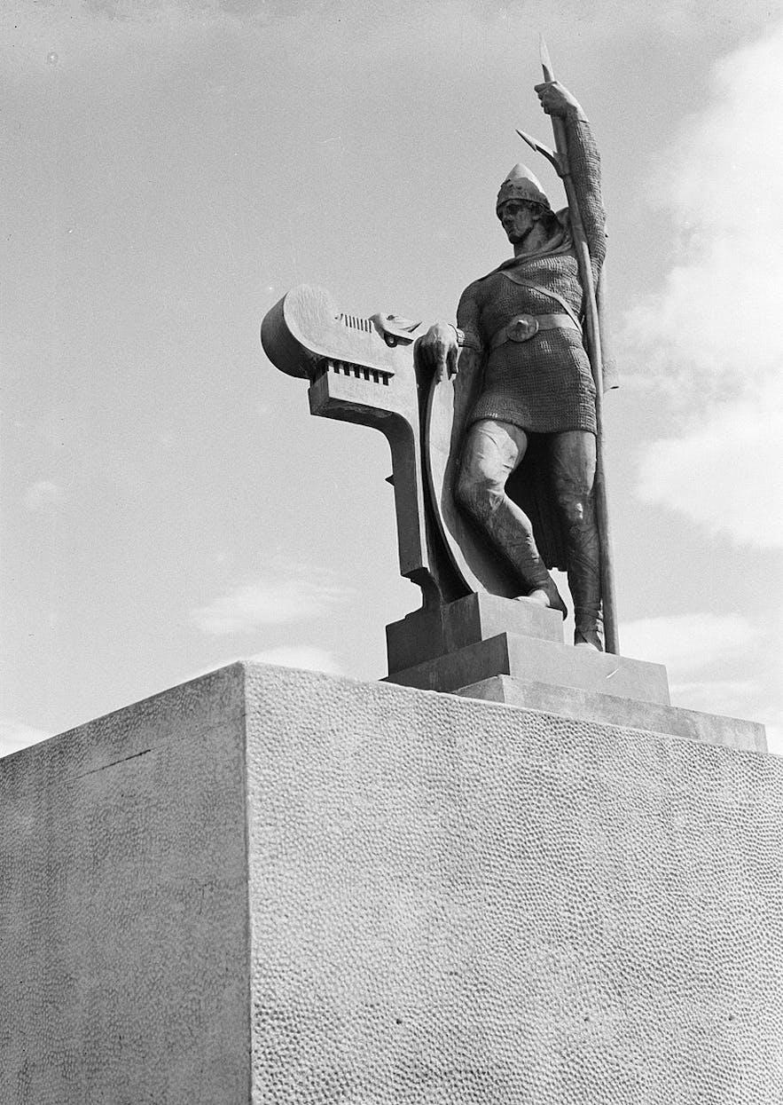 A statue of Ingolfur Arnarson towers over Reykjavik.