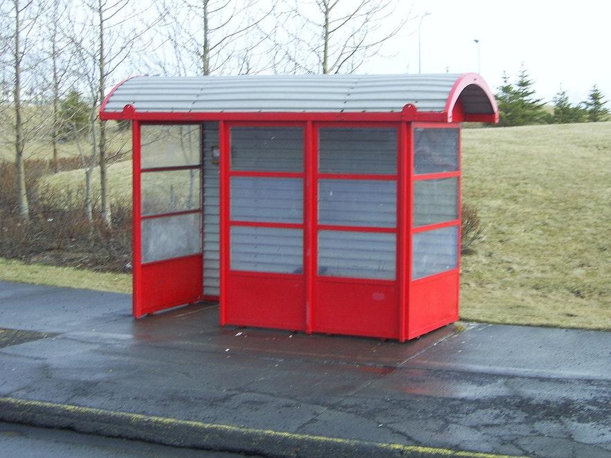 A bus stop in Reykjavik.