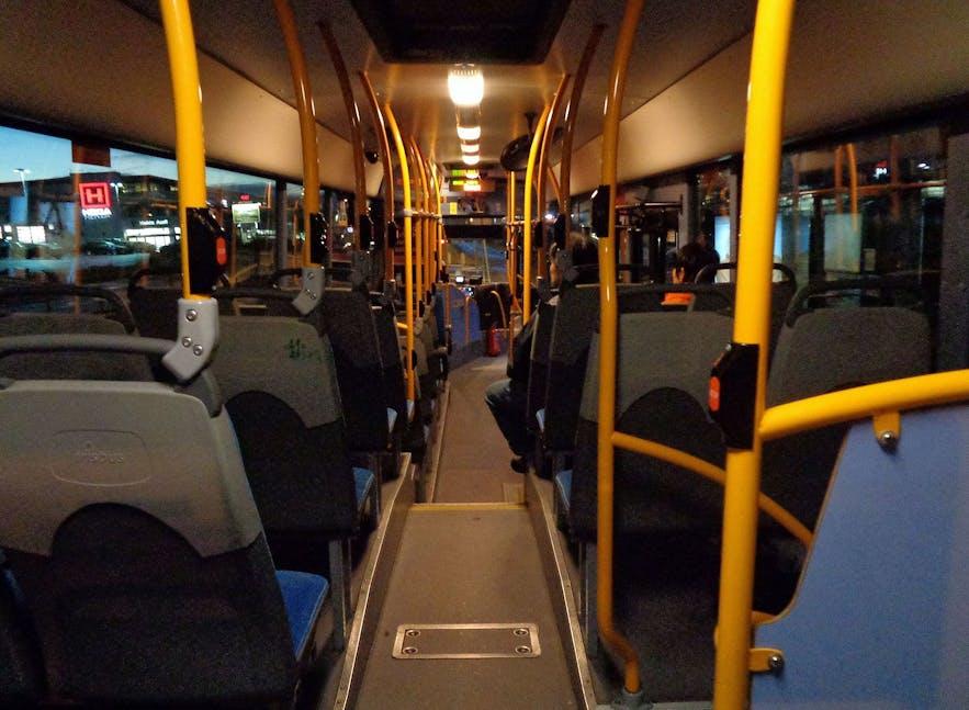 The inside of a Reykjavik City Bus.