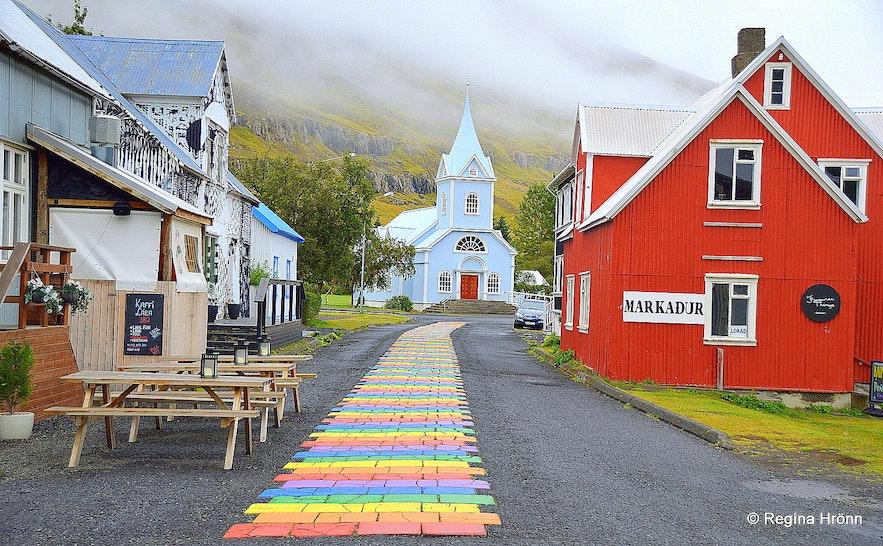 The rainbow street in Seyðisfjörður village East-Iceland