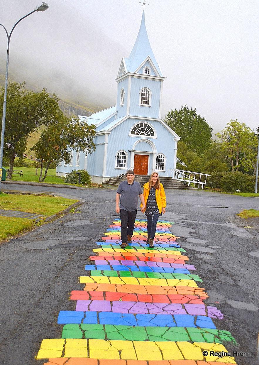 Regína on The rainbow street in Seyðisfjörður East-Iceland