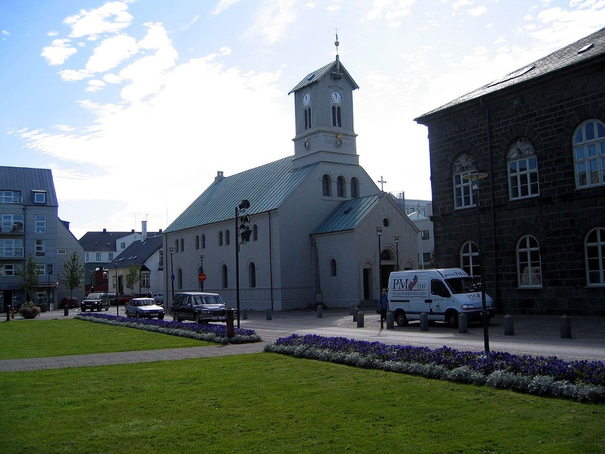 Austurvollur is a popular park and protest site in Reykjavik.