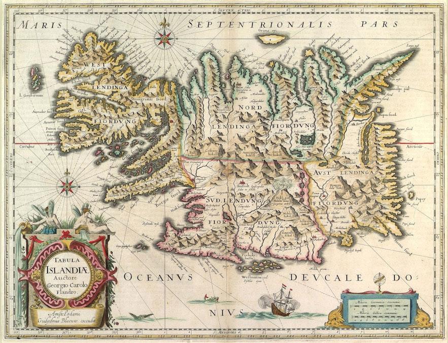 Iceland on the carta marina by Willem Blaeu.