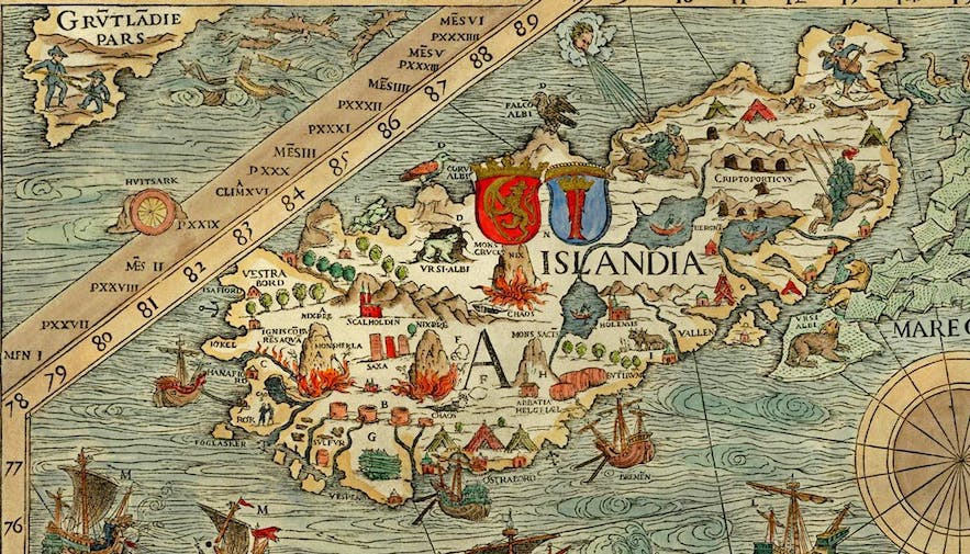 An old map of Iceland shows the ship slightly off!