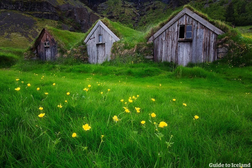 A traditional Icelandic turf house, as adopted from the 14th Century onward.