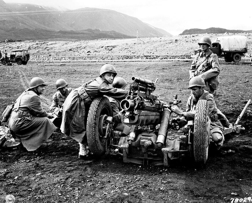 Troops in Iceland in World War 2.