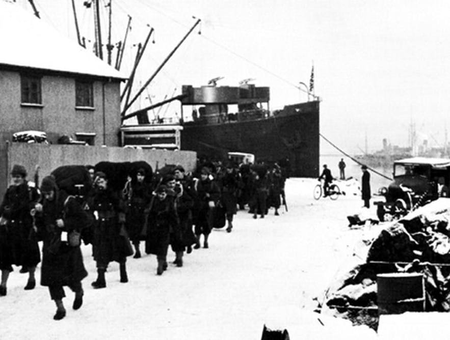 Troops arrive in Iceland in WW2.