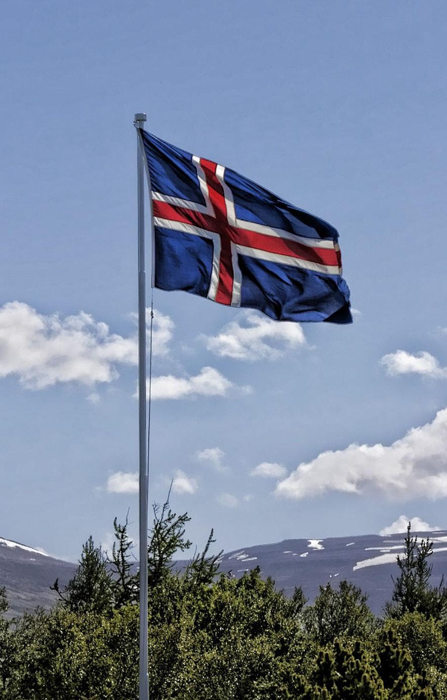 Iceland's flag flies in Akureyri.