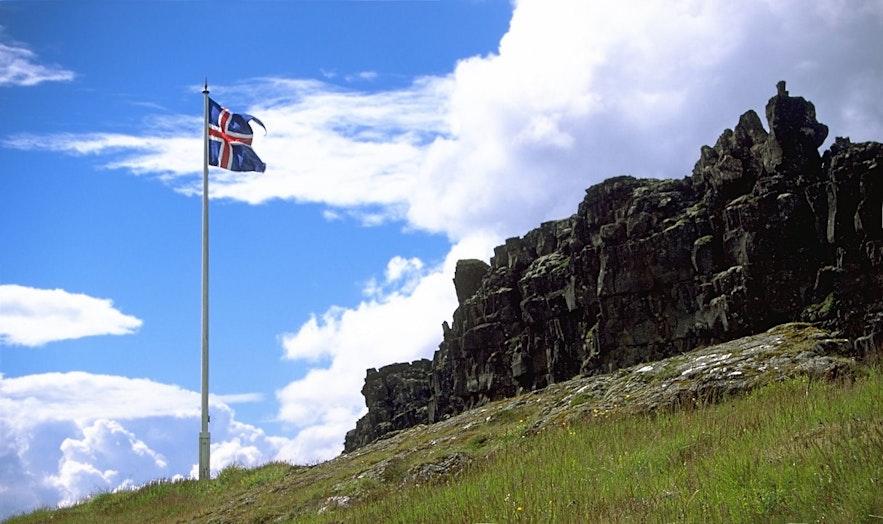 The flag flies at Thingvellir.