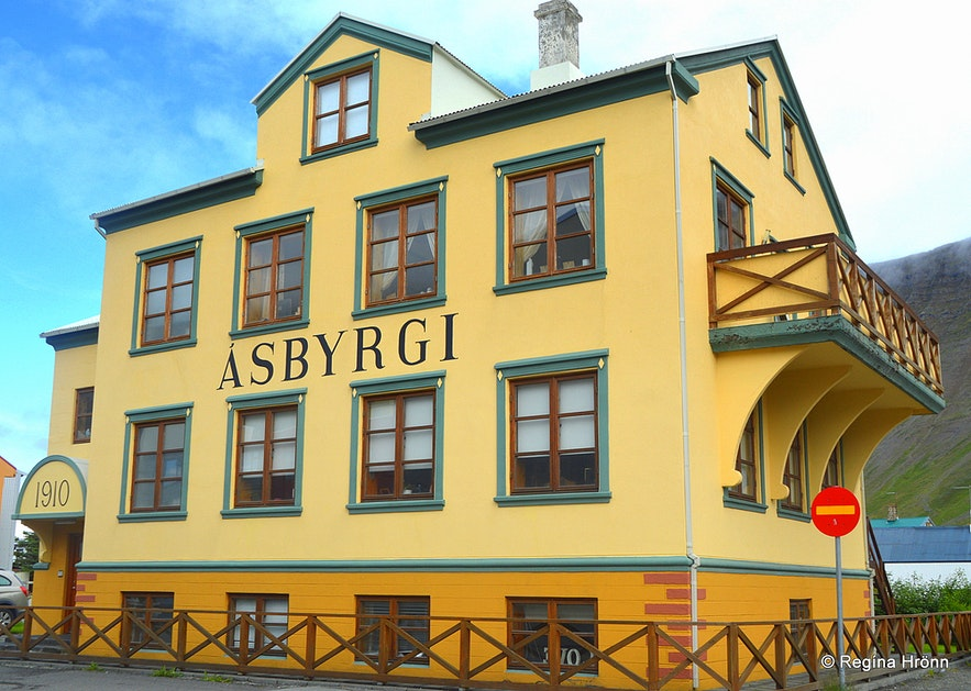A yellow house in Ísafjörður town Westfjords