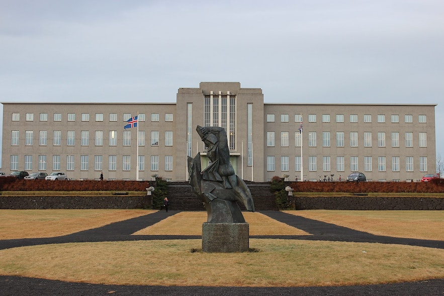 The University of Iceland's main building is especially glorious when lit by floodlights during winter nights