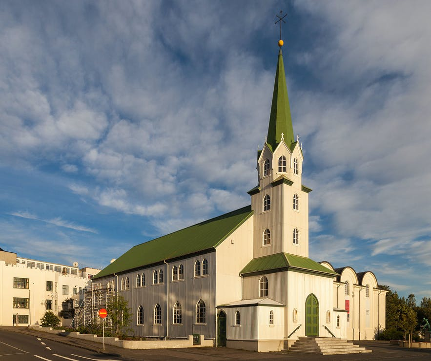The church differs from most of its Icelandic counterparts in having a green roof, instead of the standard red