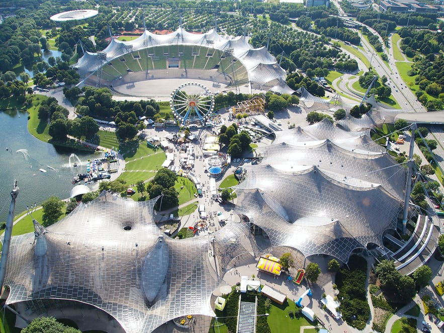 This Olympic Stadium is widely recognised as a prime example of tensile roofing structures