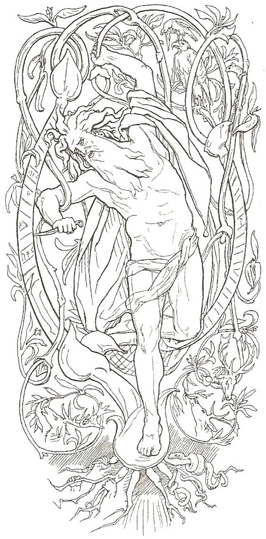 Odinn sacrificing himself on Yggdrasil.