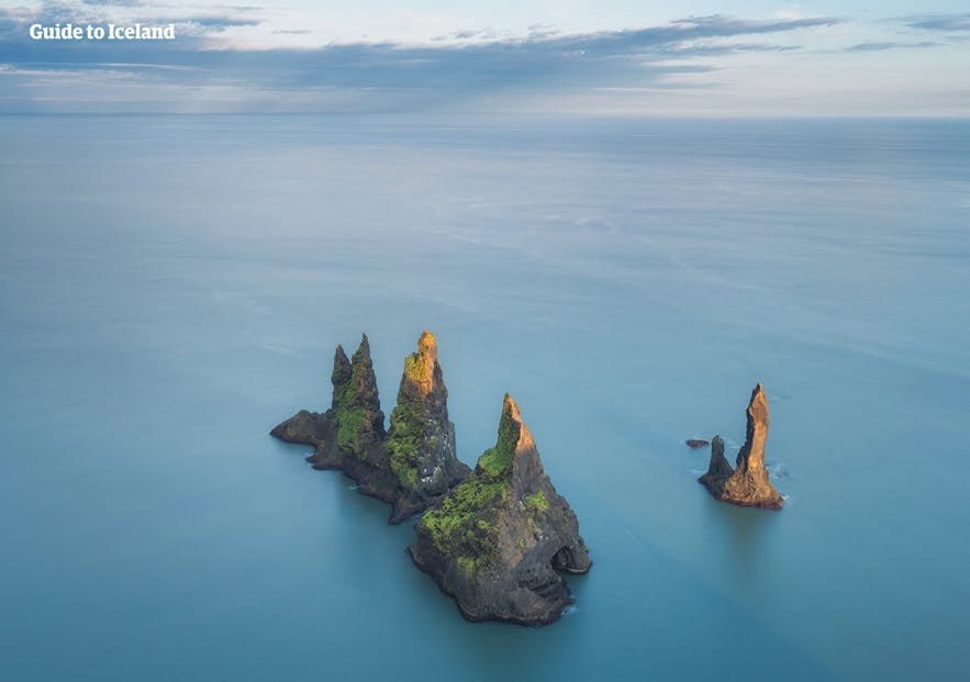 Reynisdrangar towers off the South Coast, said to be frozen trolls.