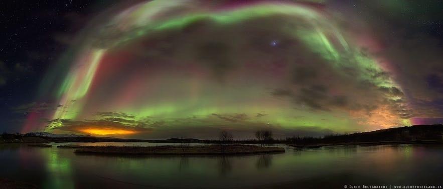 Auroras in Iceland over winter.
