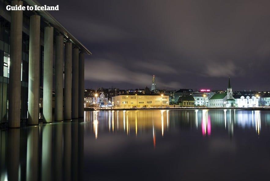 Reykjavik at night is still beautifully lit.