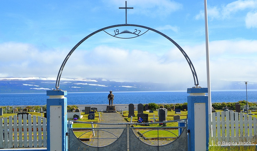 The cemetery of Hnífsdalur and the memorial for drowned fishermen