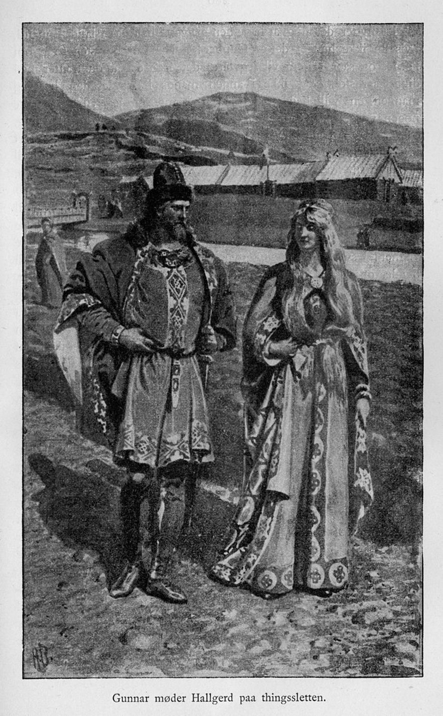 Hallgerður meets Gunnar at Þingvellir.
