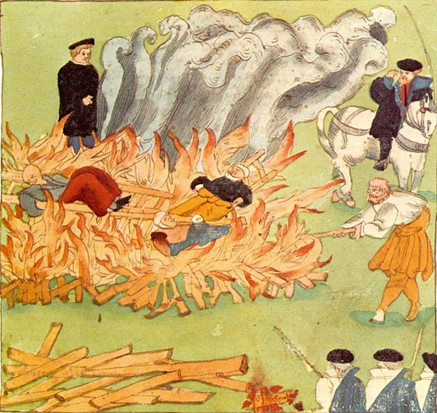 A canvas depicting women burned at the stake during the European Witch Trials