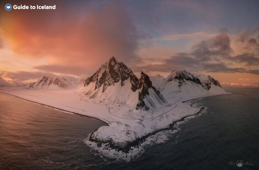 Iceland's shores, frozen in winter.