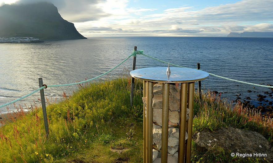 The view from the view-dial on Óshólar hill. You will see Bolungarvík village to the left