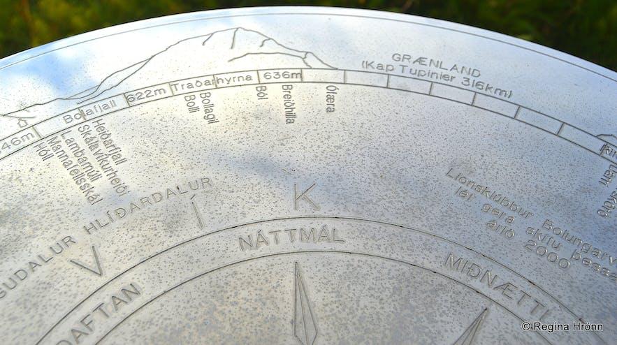 The view-dial at Óshólar in Bolungarvík Westfjords