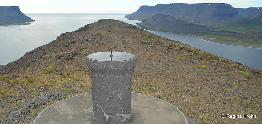 The view-dial on Mt. Sandafell, Dýrafjörður Westfjords