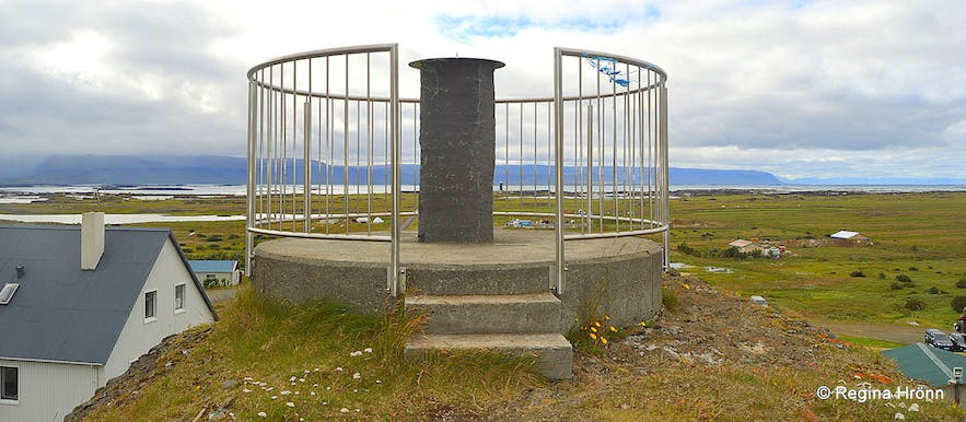 The view-dial at Hellishólar Westfjords of Iceland