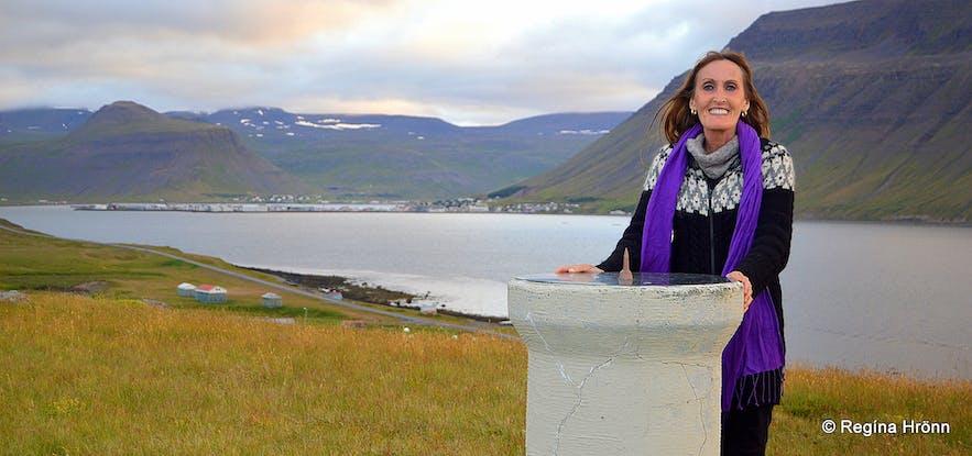 The view of Ísafjörður town in Skutulsfjörður from Arnarnes in the Westfjords