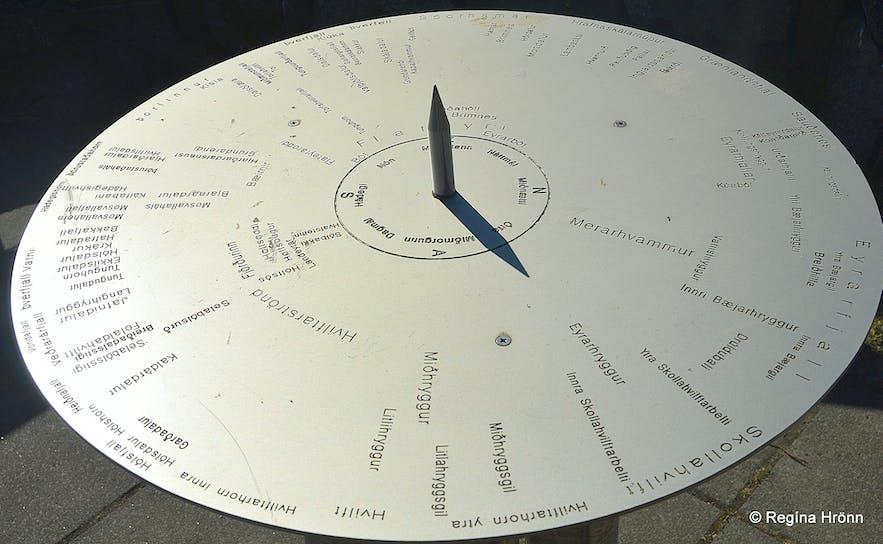 The view-dial in Flateyri Önundarfjörður Westfjords