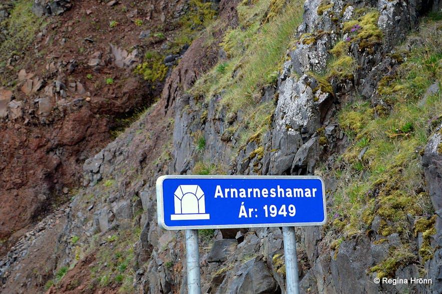 Arnarneshamar tunnel sign, Westfjords of Iceland