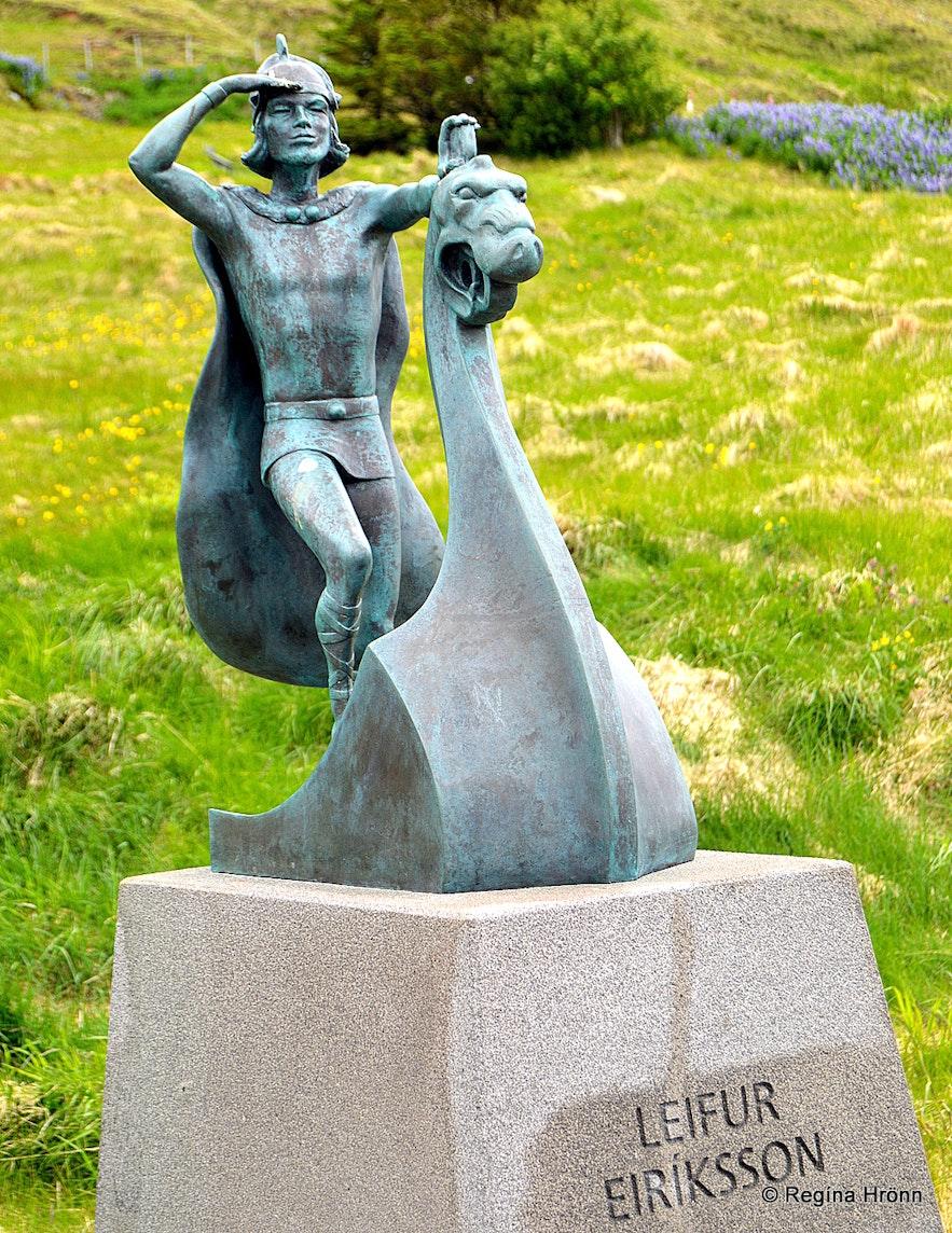 Leifur heppni statue at Eiríksstaðir West-Iceland