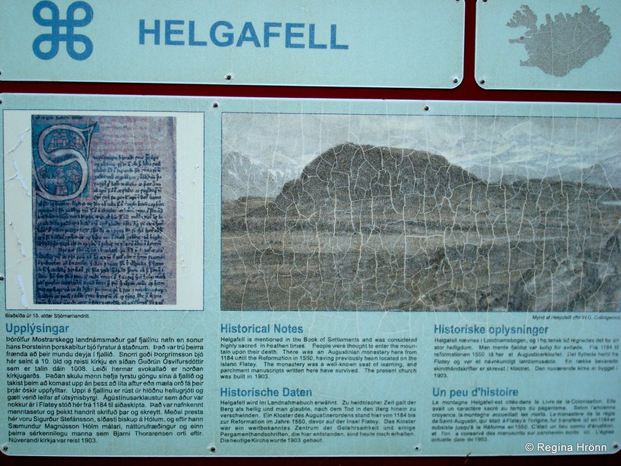 The information sign by Mt. Helgafell Snæfellsnes