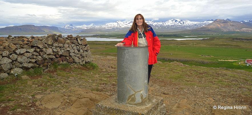 Regína on top of Mt. Helgafell by the view-dial in Snæfellsnes
