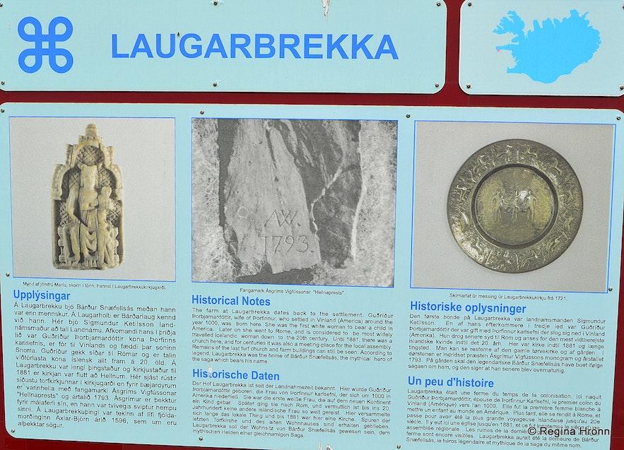 The information sign by Laugarbrekka in Snæfellsnes