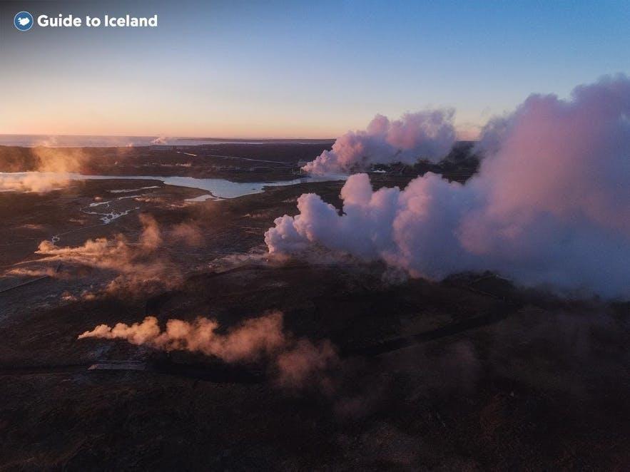A powerplant spews steam in Iceland.