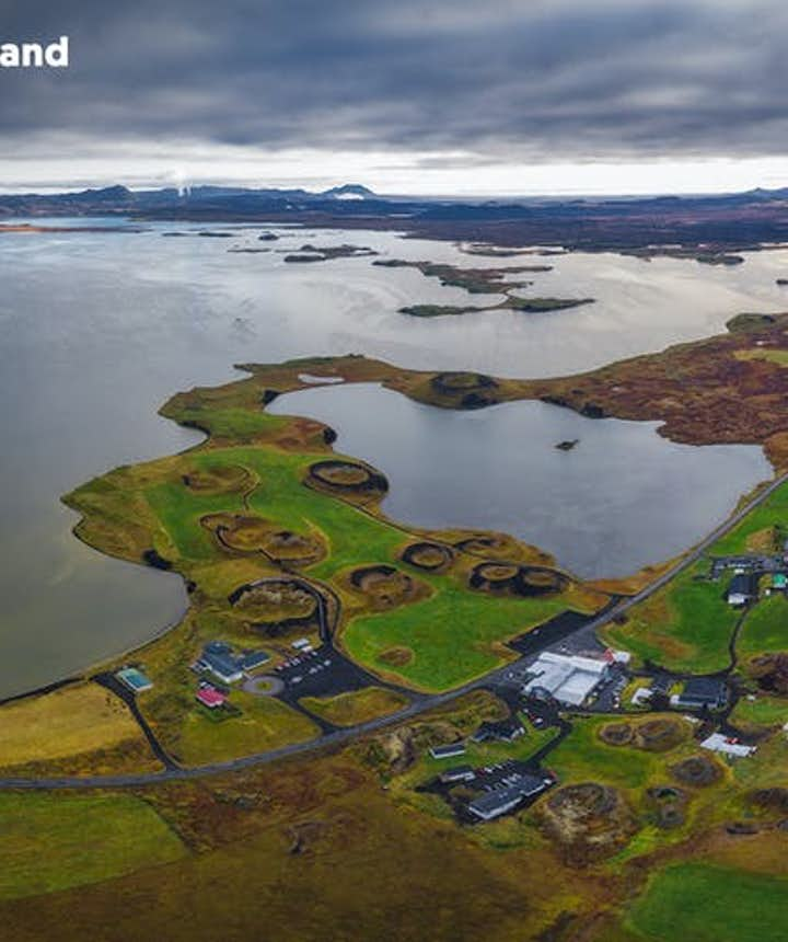 The tiny village of Reykjahlid on the shores of Lake Myvatn.