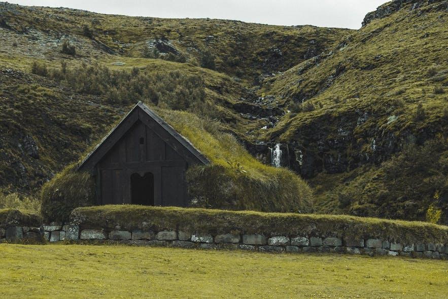 A historic Icelandic turf house.