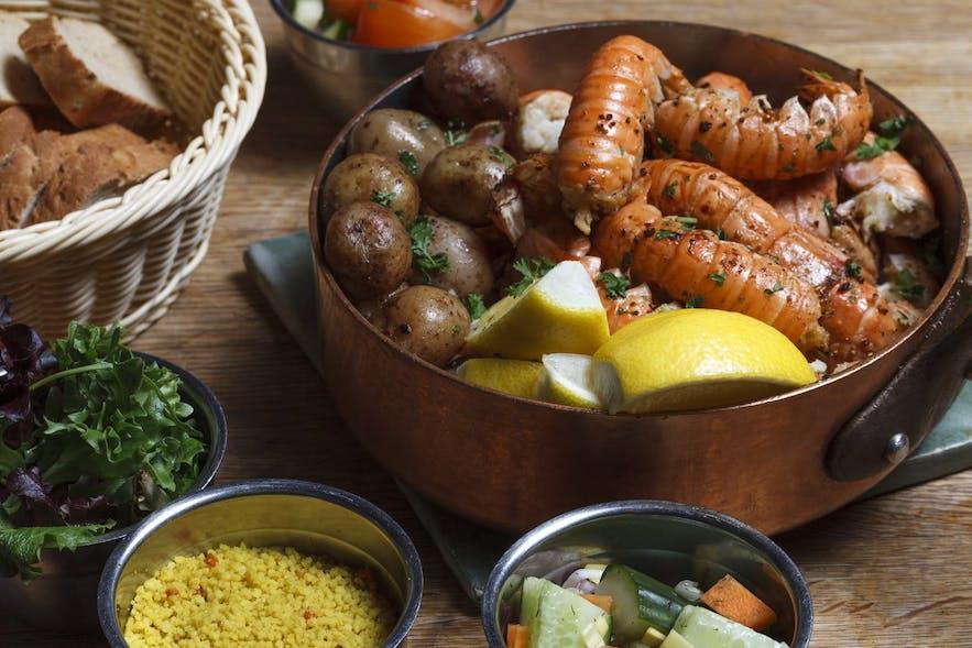 A dinner of Icelandic lobster or langoustine